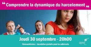 Visioconférence comprendre la dynamique du harcèlement : jeudi 30 septembre de 20h à 22h